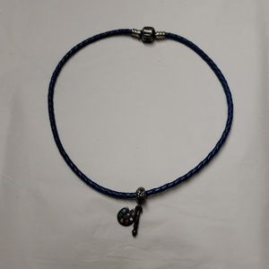 Pandora Blue Leather Silver Bracelet w/ Charm